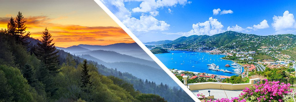 A mountain range in North Carolina and a panoramic picture of St. Thomas, Virgin Islands.