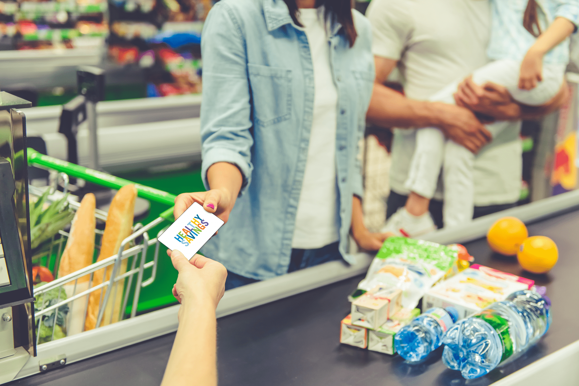 Family shopping for food items with benefit app